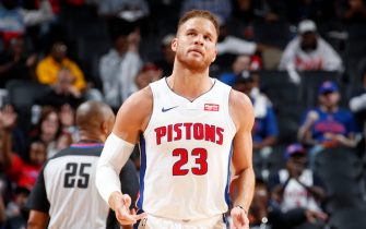 DETROIT, MI - OCTOBER 7: Blake Griffin #23 of the Detroit Pistons looks on against the Orlando Magic during a pre-season game on October 7, 2019 at Little Caesars Arena in Detroit, Michigan. NOTE TO USER: User expressly acknowledges and agrees that, by downloading and/or using this photograph, User is consenting to the terms and conditions of the Getty Images License Agreement. Mandatory Copyright Notice: Copyright 2019 NBAE (Photo by Brian Sevald/NBAE via Getty Images)