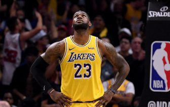 LOS ANGELES, CALIFORNIA - OCTOBER 22:  LeBron James #23 of the Los Angeles Lakers looks up at the scoreboard during the fourth quarter in a 112-102 LA Clippers win in the Clippers season home opener at Staples Center on October 22, 2019 in Los Angeles, California. (Photo by Harry How/Getty Images)