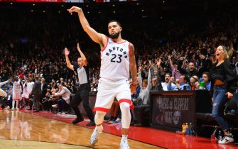TORONTO, CANADA - OCTOBER 22: Fred VanVleet #23 of the Toronto Raptors reacts after a three-pointer against the New Orleans Pelicans on October 22, 2019 at the Scotiabank Arena in Toronto, Ontario, Canada. NOTE TO USER: User expressly acknowledges and agrees that, by downloading and or using this Photograph, user is consenting to the terms and conditions of the Getty Images License Agreement.  Mandatory Copyright Notice: Copyright 2019 NBAE (Photo by Jesse D. Garrabrant/NBAE via Getty Images)