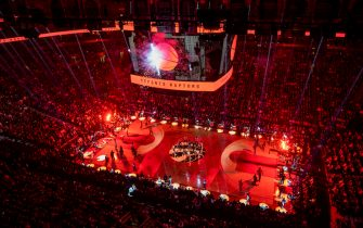 TORONTO, CANADA - OCTOBER 22: An overhead view of the arena prior to a game between the New Orleans Pelicans and the Toronto Raptors on October 22, 2019 at the Scotiabank Arena in Toronto, Ontario, Canada.  NOTE TO USER: User expressly acknowledges and agrees that, by downloading and or using this Photograph, user is consenting to the terms and conditions of the Getty Images License Agreement.  Mandatory Copyright Notice: Copyright 2019 NBAE (Photo by Mark Blinch/NBAE via Getty Images)