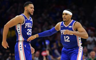 PHILADELPHIA, PA - OCTOBER 23: Ben Simmons #25 and Tobias Harris #12 of the Philadelphia 76ers celebrate during the game against the Boston Celtics at Wells Fargo Center on October 23, 2019 in Philadelphia, Pennsylvania. The 76ers won 107-93. NOTE TO USER: User expressly acknowledges and agrees that, by downloading and or using this photograph, User is consenting to the terms and conditions of the Getty Images License Agreement.  (Photo by Drew Hallowell/Getty Images)