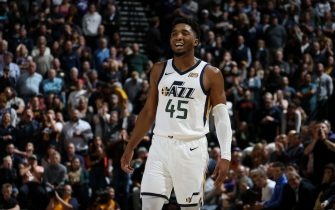 SALT LAKE CITY, UT - OCTOBER 23: Donovan Mitchell #45 of the Utah Jazz smiles against the Oklahoma City Thunder on October 23, 2019 at Vivint Smart Home Arena in Salt Lake City, Utah. NOTE TO USER: User expressly acknowledges and agrees that, by downloading and or using this Photograph, User is consenting to the terms and conditions of the Getty Images License Agreement. Mandatory Copyright Notice: Copyright 2019 NBAE (Photo by Melissa Majchrzak/NBAE via Getty Images)