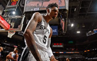 SAN ANTONIO, TX - OCTOBER 23: Dejounte Murray #5 of the San Antonio Spurs celebrates a basket against the New York Knicks on October 23, 2019 at the AT&T Center in San Antonio, Texas. NOTE TO USER: User expressly acknowledges and agrees that, by downloading and or using this photograph, user is consenting to the terms and conditions of the Getty Images License Agreement. Mandatory Copyright Notice: Copyright 2019 NBAE (Photos by Logan Riely/NBAE via Getty Images)