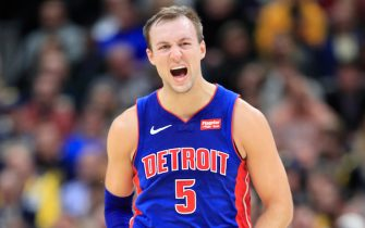 INDIANAPOLIS, INDIANA - OCTOBER 23:  Luke Kennard #5 of the Detroit Pistons celebrates after making a three point shot against the Indiana Pacers at Bankers Life Fieldhouse on October 23, 2019 in Indianapolis, Indiana.   NOTE TO USER: User expressly acknowledges and agrees that, by downloading and or using this photograph, User is consenting to the terms and conditions of the Getty Images License Agreement. (Photo by Andy Lyons/Getty Images)