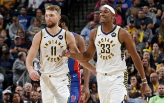 INDIANAPOLIS, IN - OCTOBER 23: Myles Turner #33 of the Indiana Pacers smiles with Domantas Sabonis #11 of the Indiana Pacers during a game against the Detroit Pistons on October 23, 2019 at Bankers Life Fieldhouse in Indianapolis, Indiana. NOTE TO USER: User expressly acknowledges and agrees that, by downloading and or using this Photograph, user is consenting to the terms and conditions of the Getty Images License Agreement. Mandatory Copyright Notice: Copyright 2019 NBAE (Photo by Ron Hoskins/NBAE via Getty Images)