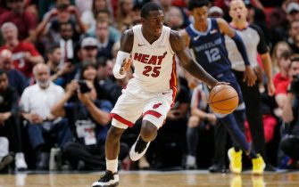 MIAMI, FLORIDA - OCTOBER 23:  Kendrick Nunn #25 of the Miami Heat drives up the court after a steal against the Memphis Grizzlies during the second half at American Airlines Arena on October 23, 2019 in Miami, Florida. NOTE TO USER: User expressly acknowledges and agrees that, by downloading and or using this photograph, User is consenting to the terms and conditions of the Getty Images License Agreement.  (Photo by Michael Reaves/Getty Images)
