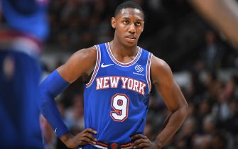 SAN ANTONIO, TX - OCTOBER 23: RJ Barrett #9 of the New York Knicks looks on against the San Antonio Spurs on October 23, 2019 at the AT&T Center in San Antonio, Texas. NOTE TO USER: User expressly acknowledges and agrees that, by downloading and or using this photograph, user is consenting to the terms and conditions of the Getty Images License Agreement. Mandatory Copyright Notice: Copyright 2019 NBAE (Photos by Garrett Ellwood/NBAE via Getty Images)