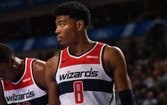 DALLAS, TX - OCTOBER 23: Rui Hachimura #8 of the Washington Wizards looks on against the Dallas Mavericks on October 23, 2019 at the American Airlines Center in Dallas, Texas. NOTE TO USER: User expressly acknowledges and agrees that, by downloading and or using this photograph, User is consenting to the terms and conditions of the Getty Images License Agreement. Mandatory Copyright Notice: Copyright 2019 NBAE (Photo by Glenn James/NBAE via Getty Images)