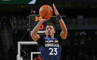MILWAUKEE, WI - OCTOBER 17: Jarrett Culver #23 of the Minnesota Timberwolves shoots the ball against the Milwaukee Bucks during a pre-season game on October 17 , 2019 at the Fiserv Forum Center in Milwaukee, Wisconsin. NOTE TO USER: User expressly acknowledges and agrees that, by downloading and or using this Photograph, user is consenting to the terms and conditions of the Getty Images License Agreement. Mandatory Copyright Notice: Copyright 2019 NBAE (Photo by Gary Dineen/NBAE via Getty Images).