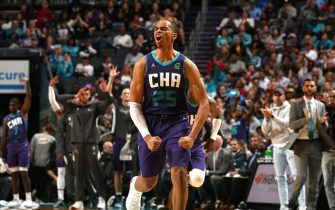 CHARLOTTE, NC - OCTOBER 23:  PJ Washington #25 of the Charlotte Hornets shows emotion during the game against the Chicago Bulls on October 23, 2019 at Spectrum Center in Charlotte, North Carolina. NOTE TO USER: User expressly acknowledges and agrees that, by downloading and or using this photograph, User is consenting to the terms and conditions of the Getty Images License Agreement.  Mandatory Copyright Notice:  Copyright 2019 NBAE (Photo by Brock Williams-Smith/NBAE via Getty Images)