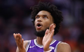 PHOENIX, ARIZONA - OCTOBER 23: Marvin Bagley III #35 of the Sacramento Kings reacts during the first half of the NBA game against the Phoenix Suns at Talking Stick Resort Arena on October 23, 2019 in Phoenix, Arizona. NOTE TO USER: User expressly acknowledges and agrees that, by downloading and/or using this photograph, user is consenting to the terms and conditions of the Getty Images License Agreement (Photo by Christian Petersen/Getty Images)