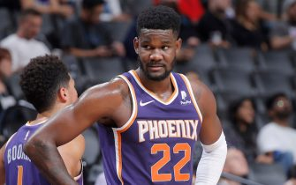 SACRAMENTO, CA - OCTOBER 10: Deandre Ayton #22 of the Phoenix Suns looks on during the game against the Sacramento Kings on October 10, 2019 at Golden 1 Center in Sacramento, California. NOTE TO USER: User expressly acknowledges and agrees that, by downloading and or using this photograph, User is consenting to the terms and conditions of the Getty Images Agreement. Mandatory Copyright Notice: Copyright 2019 NBAE (Photo by Rocky Widner/NBAE via Getty Images)
