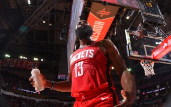 HOUSTON, TX - October 24 : James Harden #13 of the Houston Rockets looks on during a game against the Milwaukee Bucks on October 24, 2019 at the Toyota Center in Houston, Texas. NOTE TO USER: User expressly acknowledges and agrees that, by downloading and or using this photograph, User is consenting to the terms and conditions of the Getty Images License Agreement. Mandatory Copyright Notice: Copyright 2019 NBAE (Photo by Bill Baptist/NBAE via Getty Images)
