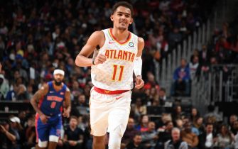 DETROIT, MI - OCTOBER 24:  Trae Young #11 of the Atlanta Hawks smiles against the Detroit Pistons on October 24, 2019 at Little Caesars Arena in Detroit, Michigan. NOTE TO USER: User expressly acknowledges and agrees that, by downloading and/or using this photograph, User is consenting to the terms and conditions of the Getty Images License Agreement. Mandatory Copyright Notice: Copyright 2019 NBAE (Photo by Chris Schwegler/NBAE via Getty Images)