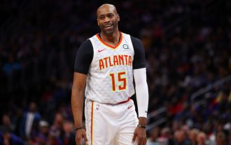 DETROIT, MICHIGAN - OCTOBER 24:  Vince Carter #15 of the Atlanta Hawks smiles during a game against the Detroit Pistons at Little Caesars Arena on October 24, 2019 in Detroit, Michigan. NOTE TO USER: User expressly acknowledges and agrees that, by downloading and/or using this photograph, user is consenting to the terms and conditions of the Getty Images License Agreement. (Photo by Gregory Shamus/Getty Images) (Photo by Gregory Shamus/Getty Images)