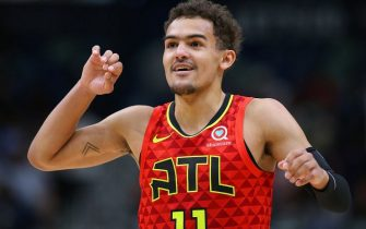 NEW ORLEANS, LOUISIANA - MARCH 26: Trae Young #11 of the Atlanta Hawks reacts during a game against the New Orleans Pelicans at the Smoothie King Center on March 26, 2019 in New Orleans, Louisiana. NOTE TO USER: User expressly acknowledges and agrees that, by downloading and or using this photograph, User is consenting to the terms and conditions of the Getty Images License Agreement. (Photo by Jonathan Bachman/Getty Images)