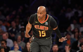 NEW YORK, NEW YORK - OCTOBER 16: Vince Carter #15 of the Atlanta Hawks reacts after making a three-point basket during the fourth quarter of the preseason game against the New York Knicks at Madison Square Garden on October 16, 2019 in New York City. NOTE TO USER: User expressly acknowledges and agrees that, by downloading and or using this Photograph, user is consenting to the terms and conditions of the Getty Images License Agreement. Mandatory Copyright Notice: Copyright 2019 NBAE (Photo by Sarah Stier/Getty Images)