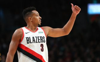 PORTLAND, OREGON - OCTOBER 23: CJ McCollum #3 of the Portland Trail Blazers signals down the court against the Denver Nuggets during their season opener at Moda Center on October 23, 2019 in Portland, Oregon. NOTE TO USER: User expressly acknowledges and agrees that, by downloading and or using this photograph, User is consenting to the terms and conditions of the Getty Images License Agreement (Photo by Abbie Parr/Getty Images)