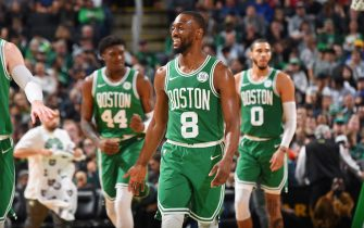 BOSTON, MA - OCTOBER 25: Kemba Walker #8 of the Boston Celtics smiles during a game against the Toronto Raptors on October 25, 2019 at the TD Garden in Boston, Massachusetts.  NOTE TO USER: User expressly acknowledges and agrees that, by downloading and or using this photograph, User is consenting to the terms and conditions of the Getty Images License Agreement. Mandatory Copyright Notice: Copyright 2019 NBAE  (Photo by Brian Babineau/NBAE via Getty Images)