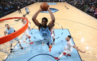 MEMPHIS, TN - OCTOBER 25: Jaren Jackson Jr. #13 of the Memphis Grizzlies dunks the ball against the Chicago Bulls on October 25, 2019 at FedExForum in Memphis, Tennessee. NOTE TO USER: User expressly acknowledges and agrees that, by downloading and or using this photograph, User is consenting to the terms and conditions of the Getty Images License Agreement. Mandatory Copyright Notice: Copyright 2019 NBAE (Photo by Joe Murphy/NBAE via Getty Images)