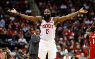 HOUSTON, TX - OCTOBER 26:  James Harden #13 of the Houston Rockets reacts in the first half against the New Orleans Pelicans at Toyota Center on October 26, 2019 in Houston, Texas.  NOTE TO USER: User expressly acknowledges and agrees that, by downloading and or using this photograph, User is consenting to the terms and conditions of the Getty Images License Agreement.  (Photo by Tim Warner/Getty Images)
