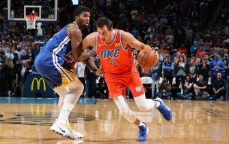 OKLAHOMA CITY, OK - OCTOBER 27: Danilo Gallinari #8 of the Oklahoma City Thunder handles the ball against the Golden State Warriors on October 27, 2019 at Chesapeake Energy Arena in Oklahoma City, Oklahoma. NOTE TO USER: User expressly acknowledges and agrees that, by downloading and or using this photograph, User is consenting to the terms and conditions of the Getty Images License Agreement. Mandatory Copyright Notice: Copyright 2019 NBAE (Photo by Zach Beeker/NBAE via Getty Images)