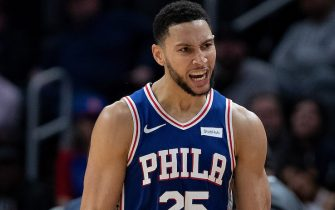 DETROIT, MI - OCTOBER 26: Ben Simmons #25 of the Philadelphia 76ers reacts after a three point shot during the second inning of the game against the Detroit Pistons at Little Caesars Arena on October 26, 2019 in Detroit, Michigan. Philadelphia defeated Detroit 117-111. NOTE TO USER: User expressly acknowledges and agrees that, by downloading and or using this photograph, User is consenting to the terms and conditions of the Getty Images License Agreement (Photo by Leon Halip/Getty Images)