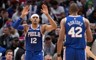 DETROIT, MI - OCTOBER 26: Tobias Harris #12 of the Philadelphia 76ers celebrates with teammate Al Horford #42 during the second quarter of the game against the Detroit Pistons at Little Caesars Arena on October 26, 2019 in Detroit, Michigan. Philadelphia defeated Detroit 117-111. NOTE TO USER: User expressly acknowledges and agrees that, by downloading and or using this photograph, User is consenting to the terms and conditions of the Getty Images License Agreement (Photo by Leon Halip/Getty Images)