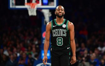 NEW YORK, NEW YORK - OCTOBER 26: Kemba Walker #8 of the Boston Celtics reacts during the second half of their game against the New York Knicks at Madison Square Garden on October 26, 2019 in New York City. NOTE TO USER: User expressly acknowledges and agrees that, by downloading and or using this photograph, User is consenting to the terms and conditions of the Getty Images License Agreement. (Photo by Emilee Chinn/Getty Images)