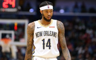 NEW ORLEANS, LOUISIANA - OCTOBER 11: Brandon Ingram #14 of the New Orleans Pelicans reacts during a preseason game against the Utah Jazz at the Smoothie King Center on October 11, 2019 in New Orleans, Louisiana. NOTE TO USER: User expressly acknowledges and agrees that, by downloading and or using this Photograph, user is consenting to the terms and conditions of the Getty Images License Agreement.  (Photo by Jonathan Bachman/Getty Images)