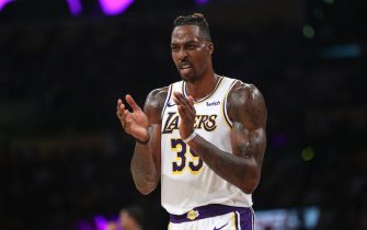 LOS ANGELES, CALIFORNIA - OCTOBER 27:  Dwight Howard #39 of the Los Angeles Lakers reacts after being fouled during the second half of a game against the Charlotte Hornets  at Staples Center on October 27, 2019 in Los Angeles, California. (Photo by Sean M. Haffey/Getty Images)