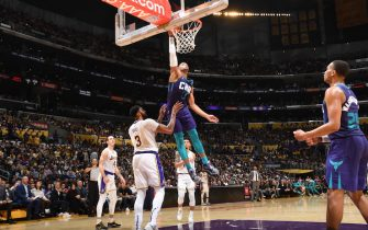 LOS ANGELES, CA - OCTOBER 27: Miles Bridges #0 of the Charlotte Hornets dunks the ball against the Los Angeles Lakers on October 27, 2019 at STAPLES Center in Los Angeles, California. NOTE TO USER: User expressly acknowledges and agrees that, by downloading and/or using this Photograph, user is consenting to the terms and conditions of the Getty Images License Agreement. Mandatory Copyright Notice: Copyright 2019 NBAE (Photo by Andrew D. Bernstein/NBAE via Getty Images)