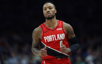 DALLAS, TEXAS - OCTOBER 27:  Damian Lillard #0 of the Portland Trail Blazers reacts during play against the Dallas Mavericks at American Airlines Center on October 27, 2019 in Dallas, Texas. NOTE TO USER: User expressly acknowledges and agrees that, by downloading and or using this photograph, User is consenting to the terms and conditions of the Getty Images License Agreement.  (Photo by Ronald Martinez/Getty Images)