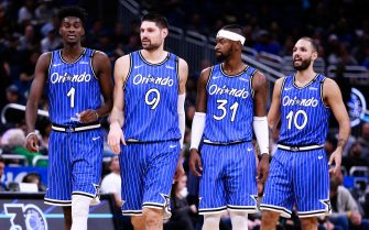 ORLANDO, FLORIDA - DECEMBER 23: Jonathan Isaac #1, Nikola Vucevic #9, Terrence Ross #3 and Evan Fournier #10 of the Orlando Magic take the court in the second quarter against the Miami Heat at Amway Center on December 23, 2018 in Orlando, Florida. NOTE TO USER: User expressly acknowledges and agrees that, by downloading and or using this photograph, User is consenting to the terms and conditions of the Getty Images License Agreement. (Photo by Harry Aaron/Getty Images)