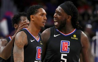 DETROIT, MICHIGAN - FEBRUARY 02:  Lou Williams #23 of the LA Clippers celebrates a second half basket with  Montrezl Harrell #5 while playing the Detroit Pistons at Little Caesars Arena on February 02, 2019 in Detroit, Michigan. Los Angeles won the game 111-101. NOTE TO USER: User expressly acknowledges and agrees that, by downloading and or using this photograph, User is consenting to the terms and conditions of the Getty Images License Agreement. (Photo by Gregory Shamus/Getty Images)