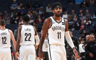 MEMPHIS, TN - OCTOBER 27: Kyrie Irving #11 of the Brooklyn Nets looks on against the Memphis Grizzlies on October 27, 2019 at FedExForum in Memphis, Tennessee. NOTE TO USER: User expressly acknowledges and agrees that, by downloading and or using this photograph, User is consenting to the terms and conditions of the Getty Images License Agreement. Mandatory Copyright Notice: Copyright 2019 NBAE (Photo by Joe Murphy/NBAE via Getty Images)
