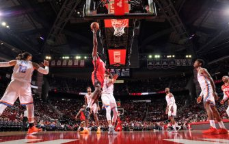 HOUSTON, TX - OCTOBER 28 : James Harden #13 of the Houston Rockets shoots the ball against Danilo Gallinari #8 of the Oklahoma City Thunder on October 28, 2019 at the Toyota Center in Houston, Texas. NOTE TO USER: User expressly acknowledges and agrees that, by downloading and or using this photograph, User is consenting to the terms and conditions of the Getty Images License Agreement. Mandatory Copyright Notice: Copyright 2019 NBAE (Photo by Bill Baptist/NBAE via Getty Images)