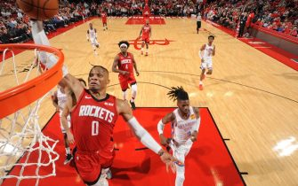 HOUSTON, TX - OCTOBER 28 : Russell Westbrook #0 of the Houston Rockets dunks the ball against the Oklahoma City Thunder on October 28, 2019 at the Toyota Center in Houston, Texas. NOTE TO USER: User expressly acknowledges and agrees that, by downloading and or using this photograph, User is consenting to the terms and conditions of the Getty Images License Agreement. Mandatory Copyright Notice: Copyright 2019 NBAE (Photo by Bill Baptist/NBAE via Getty Images)