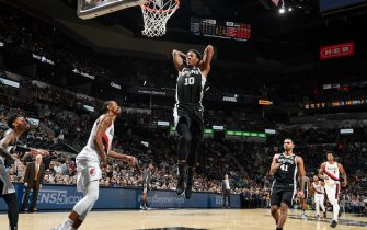 SAN ANTONIO, TX - OCTOBER 28: DeMar DeRozan #10 of the San Antonio Spurs dunks the ball against the Portland Trail Blazers on October 28, 2019 at the AT&T Center in San Antonio, Texas. NOTE TO USER: User expressly acknowledges and agrees that, by downloading and or using this photograph, user is consenting to the terms and conditions of the Getty Images License Agreement. Mandatory Copyright Notice: Copyright 2019 NBAE (Photos by Logan Riely/NBAE via Getty Images)