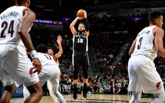 SAN ANTONIO, TX - OCTOBER 28: Marco Belinelli #18 of the San Antonio Spurs shoots the ball against the Portland Trail Blazers on October 28, 2019 at the AT&T Center in San Antonio, Texas. NOTE TO USER: User expressly acknowledges and agrees that, by downloading and or using this photograph, user is consenting to the terms and conditions of the Getty Images License Agreement. Mandatory Copyright Notice: Copyright 2019 NBAE (Photos by Logan Riely/NBAE via Getty Images)