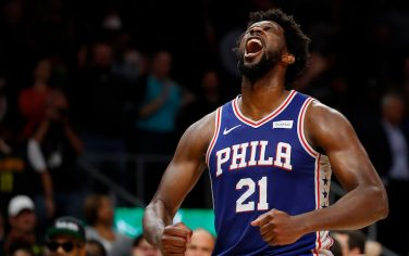 ATLANTA, GEORGIA - OCTOBER 28:  Joel Embiid #21 of the Philadelphia 76ers reacts after their 105-103 win over the Atlanta Hawks at State Farm Arena on October 28, 2019 in Atlanta, Georgia.  NOTE TO USER: User expressly acknowledges and agrees that, by downloading and/or using this photograph, user is consenting to the terms and conditions of the Getty Images License Agreement.  (Photo by Kevin C. Cox/Getty Images)