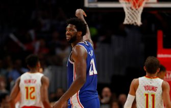 ATLANTA, GEORGIA - OCTOBER 28:  Joel Embiid #21 of the Philadelphia 76ers reacts after hitting a three-point basket against the Atlanta Hawks in the second half at State Farm Arena on October 28, 2019 in Atlanta, Georgia.  NOTE TO USER: User expressly acknowledges and agrees that, by downloading and/or using this photograph, user is consenting to the terms and conditions of the Getty Images License Agreement.  (Photo by Kevin C. Cox/Getty Images)