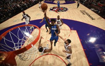 TORONTO, CANADA - OCTOBER 28: Jonathan Isaac #1 of the Orlando Magic drives to the basket against the Toronto Raptors on October 28, 2019 at the Scotiabank Arena in Toronto, Ontario, Canada.  NOTE TO USER: User expressly acknowledges and agrees that, by downloading and or using this Photograph, user is consenting to the terms and conditions of the Getty Images License Agreement.  Mandatory Copyright Notice: Copyright 2019 NBAE (Photo by Ron Turenne/NBAE via Getty Images)