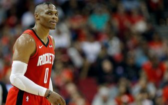 HOUSTON, TEXAS - OCTOBER 28: Russell Westbrook #0 of the Houston Rockets during a break in play against the Oklahoma City Thunder at Toyota Center on October 28, 2019 in Houston, Texas.NOTE TO USER: User expressly acknowledges and agrees that, by downloading and/or using this photograph, user is consenting to the terms and conditions of the Getty Images License Agreement.  (Photo by Bob Levey/Getty Images)
