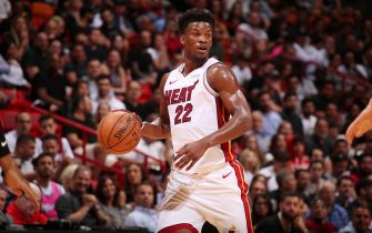 MIAMI, FL - OCTOBER 29: Jimmy Butler #22 of the Miami Heat handles the ball against the Atlanta Hawks on October 29, 2019 at American Airlines Arena in Miami, Florida. NOTE TO USER: User expressly acknowledges and agrees that, by downloading and or using this Photograph, user is consenting to the terms and conditions of the Getty Images License Agreement. Mandatory Copyright Notice: Copyright 2019 NBAE (Photo by Issac Baldizon/NBAE via Getty Images)