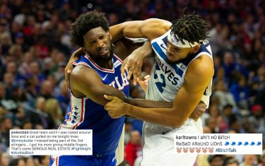 PHILADELPHIA, PA - OCTOBER 30: Joel Embiid #21 of the Philadelphia 76ers gets in a fight with Karl-Anthony Towns #32 of the Minnesota Timberwolves in the third quarter at the Wells Fargo Center on October 30, 2019 in Philadelphia, Pennsylvania. NOTE TO USER: User expressly acknowledges and agrees that, by downloading and or using this photograph, User is consenting to the terms and conditions of the Getty Images License Agreement. (Photo by Mitchell Leff/Getty Images)