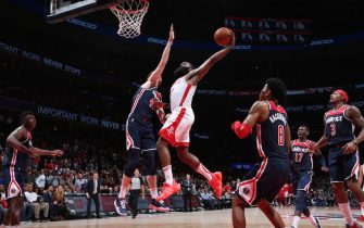 WASHINGTON, DC - OCTOBER 30: James Harden #13 of the Houston Rockets dunks the ball against the Washington Wizards on October 30, 2019 at Capital One Arena in Washington, DC. NOTE TO USER: User expressly acknowledges and agrees that, by downloading and or using this Photograph, user is consenting to the terms and conditions of the Getty Images License Agreement. Mandatory Copyright Notice: Copyright 2019 NBAE (Photo by Ned Dishman/NBAE via Getty Images)