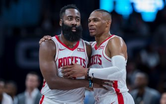 WASHINGTON, DC - OCTOBER 30: James Harden #13 of the Houston Rockets speaks with Russell Westbrook #0 during a break in the action against the Washington Wizards in the second half at Capital One Arena on October 30, 2019 in Washington, DC. NOTE TO USER: User expressly acknowledges and agrees that, by downloading and or using this photograph, User is consenting to the terms and conditions of the Getty Images License Agreement. (Photo by Scott Taetsch/Getty Images)