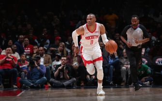 WASHINGTON, DC - OCTOBER 30: Russell Westbrook #0 of the Houston Rockets handles the ball against the Washington Wizards on October 30, 2019 at Capital One Arena in Washington, DC. NOTE TO USER: User expressly acknowledges and agrees that, by downloading and or using this Photograph, user is consenting to the terms and conditions of the Getty Images License Agreement. Mandatory Copyright Notice: Copyright 2019 NBAE (Photo by Ned Dishman/NBAE via Getty Images)