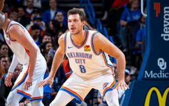 OKLAHOMA CITY, OK- OCTOBER 30: Danilo Gallinari #8 of the Oklahoma City Thunder on defense against the Portland Trail Blazers on October 30, 2019 at Chesapeake Energy Arena in Oklahoma City, Oklahoma. NOTE TO USER: User expressly acknowledges and agrees that, by downloading and or using this photograph, User is consenting to the terms and conditions of the Getty Images License Agreement. Mandatory Copyright Notice: Copyright 2019 NBAE (Photo by Zach Beeker/NBAE via Getty Images)